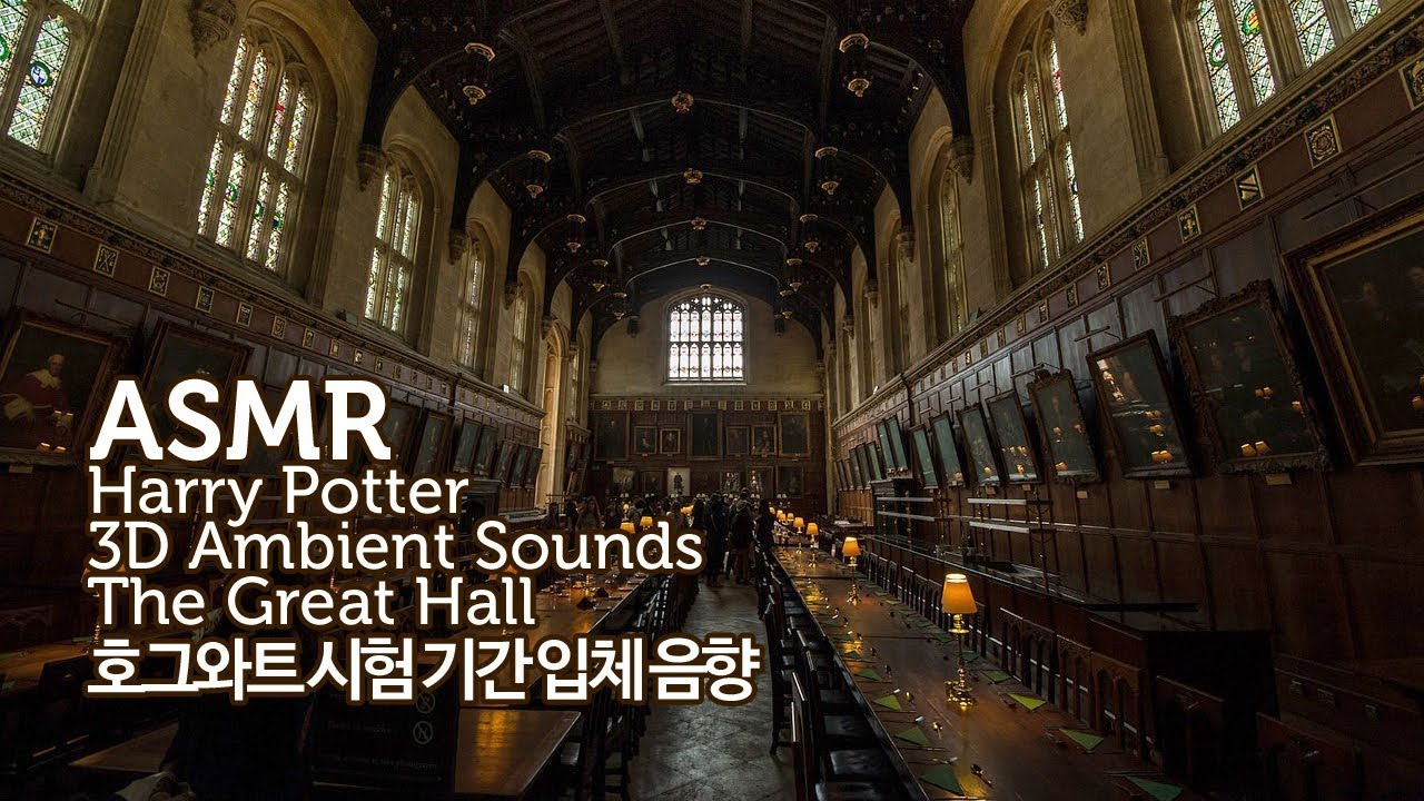 ASMR Harry Potter 공부할 때 듣는●호그와트 시험 기간-그레이트 홀 입체 음향 | Hogwarts The Great Hall 3D Ambient Sounds