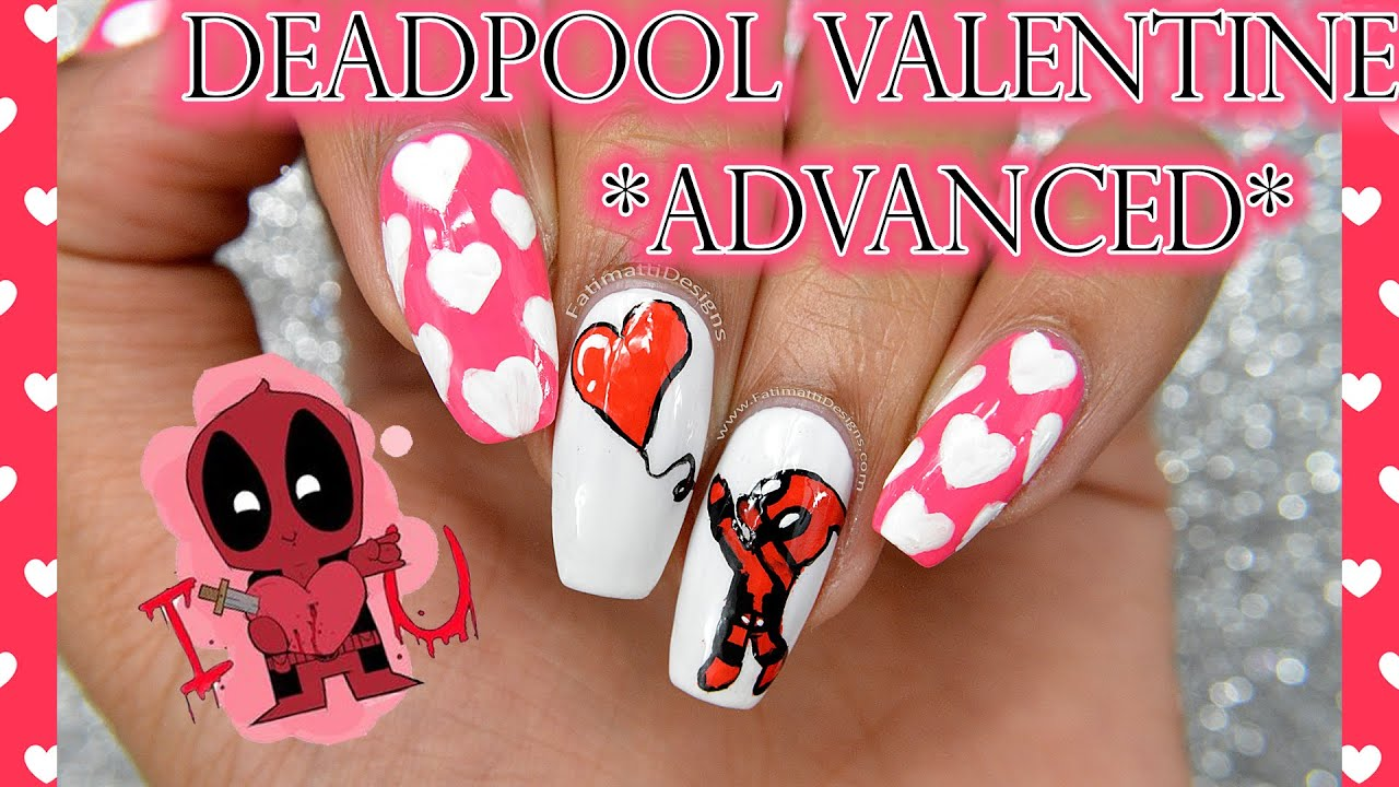 DIY: Deadpool Valentine *Advanced Nail Art* - YouTube