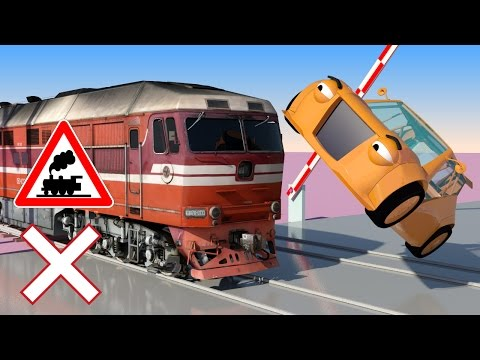 Thumbnail: VIDS for KIDS in 3d (HD) - Train, Cars and Railroad Crossings Crashes 1 - AApV