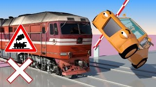 VIDS for KIDS in 3d (HD) - Train, Cars and Railroad Crossings Crashes 1 - AApV