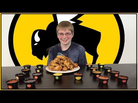 12-yr-old eats 18 hot sauces from Buffalo Wild Wings : Crude Brothers
