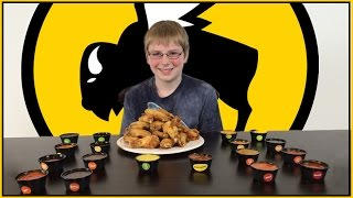 12-yr-old eats 18 hot sauces from Buffalo Wild Wings : Crude Brothers Video