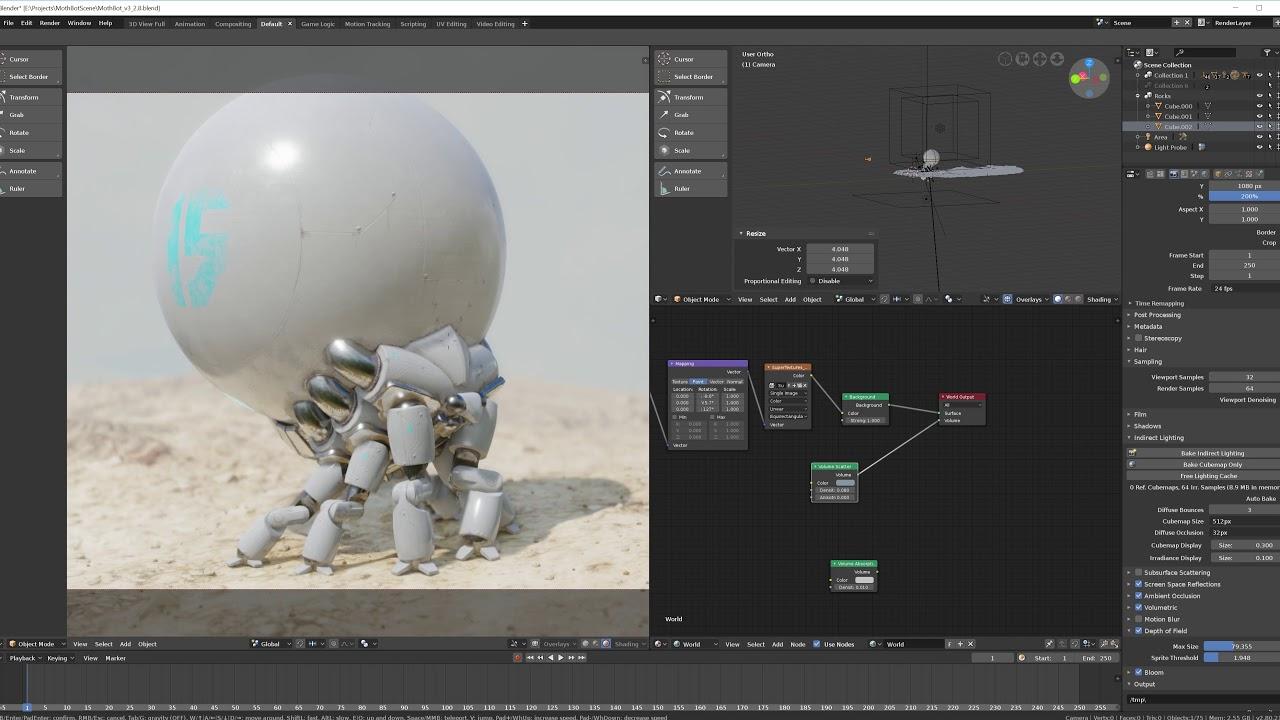 Eevee Viewport test with Sphere Bot // Blender 3D Realtime Render