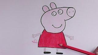 Como dibujar y pintar a Pepa (Pepa Pig) - How to draw and paint Pepa