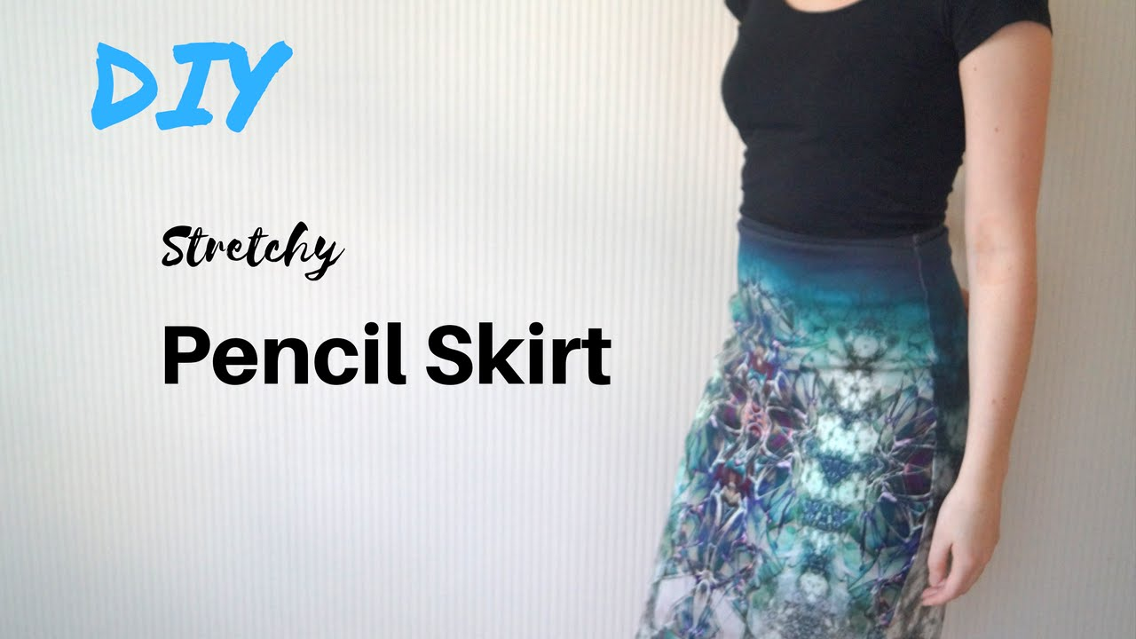 Making a Simple, Stretchy Pencil Skirt - YouTube