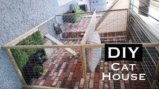 diy inexpensive outdoor cat house enclosure