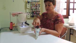 Porta tesouras em tecido com três divisões
