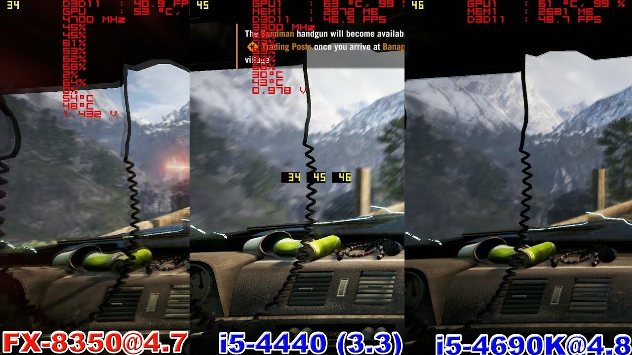 FX 8350@4.7 vs i5 4440(3.3) vs i5 4690K@4.8 in Far Cry 4 1.0 (GTX970)