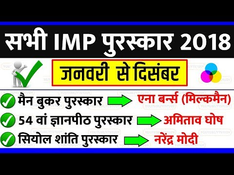 Awards and honours 2018 | पुरस्कार और सम्मान January 2019 current affairs | SSC GD CGL CPO UPP