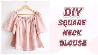 DIY SQUARE NECK BLOUSE / 手作り服 + ファッション / Costura / 옷만들기 / Sewing Tutorialㅣmadebyaya