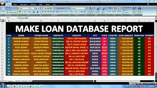 Lesson - 04 || Data Entry Training For Job Make Loan Entry Database In Excel For Beginners ||