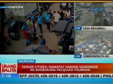 UB: Senior citizen, namatay habang nanonood ng bakbakang Pacquiao-Thurman