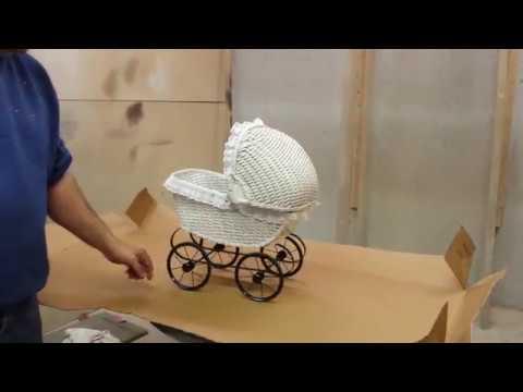 restoring an antique wicker  baby stroller