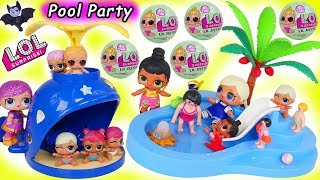 LOL Surprise Dolls Lil Sisters Color Change Swim Pool Blind Bag Balls Water Slide Morning Routine!