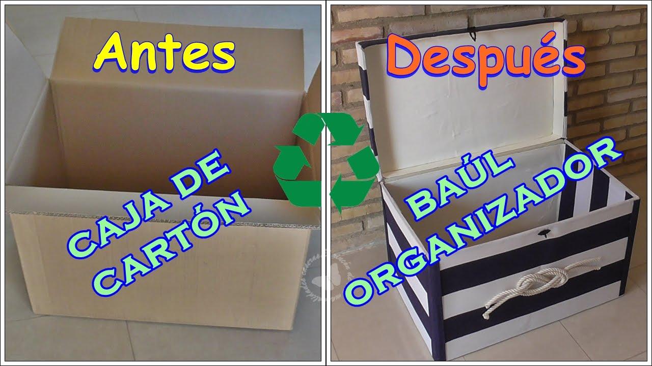 C mo reciclar una caja de cart n en un ba l organizador youtube - Como hacer un baul para guardar juguetes ...