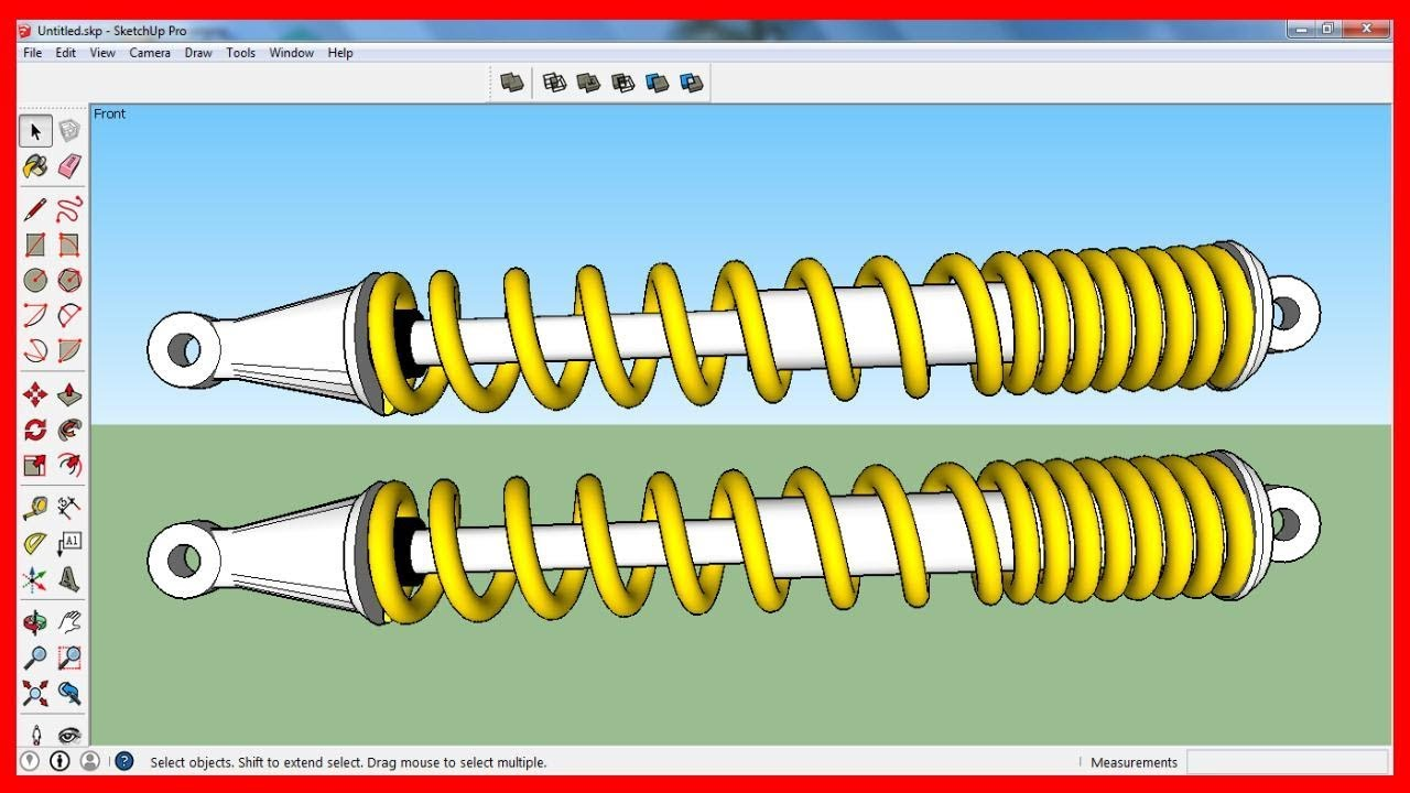 Sketchup: Giảm sốc (phuộc) xe máy - Phần 1