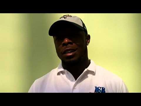 ISB coach Charles McCrea at 2015 Dolphins HS Football Media Day