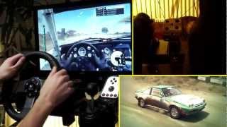 Gameplay Logitech G27 - DiRT 3 desert rally, foot/clutch and replay cam, steering wheel simulator.