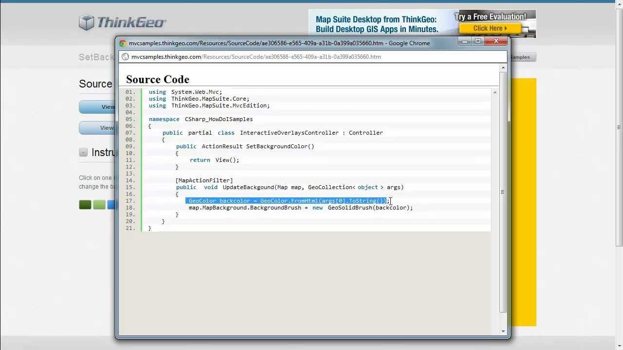 Set the background color map suite mvc edition sample app walkthrough
