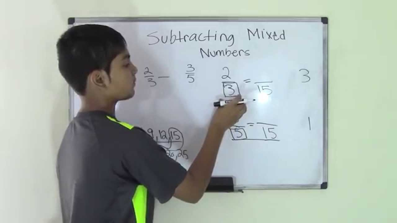 small resolution of 5th Grade Math Subtract Mixed Numbers - YouTube