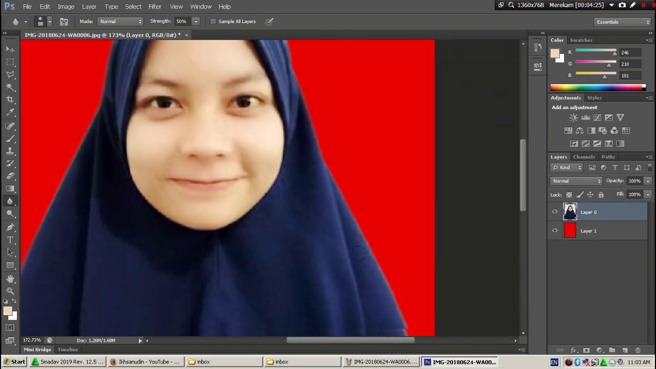 Cara Membuat Pas Foto 3x4 Background Warna Merah Youtube