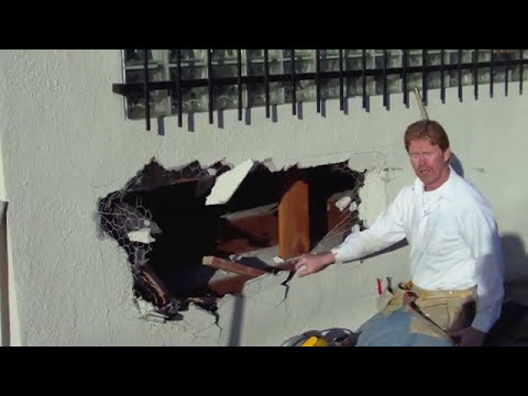 How to repair a hole in a stucco wall caused by hit and run auto accident