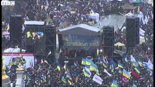 BBC News   Ukraine ;s capital Kiev gripped by huge pro EU demonstration