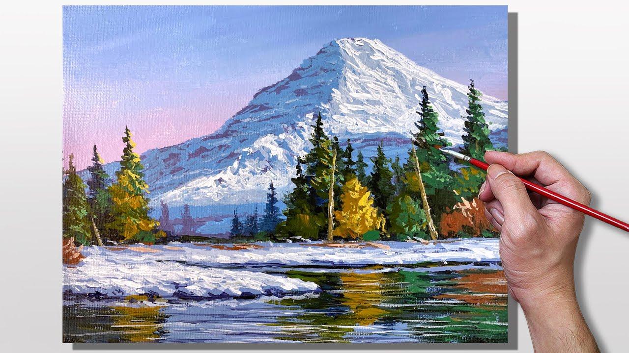 Acrylic Painting Winter Reflection Landscape