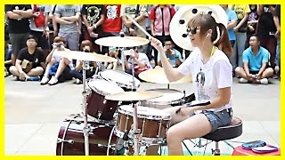 Repeat youtube video Amazing Girl Drummer Does BIGBANG - Fantastic Baby Street Performance
