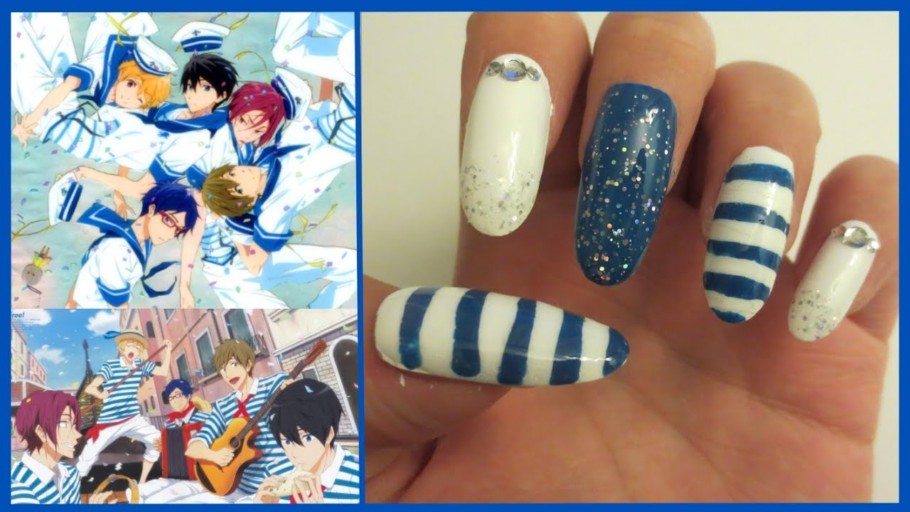 Anime Free Iwatobi Swim Club Eternal Summer Nautical Nail Tutorial