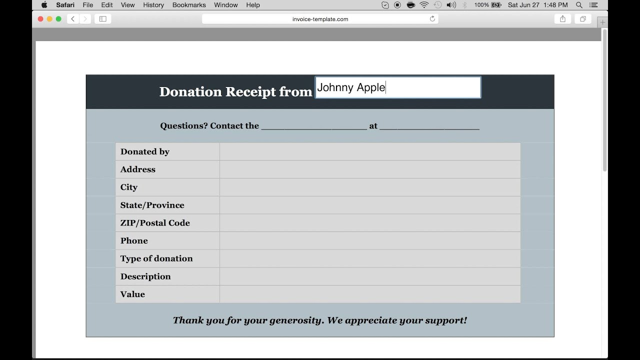 How To Make A Donation Invoice Receipt Excel Word PDF - Donation invoice template