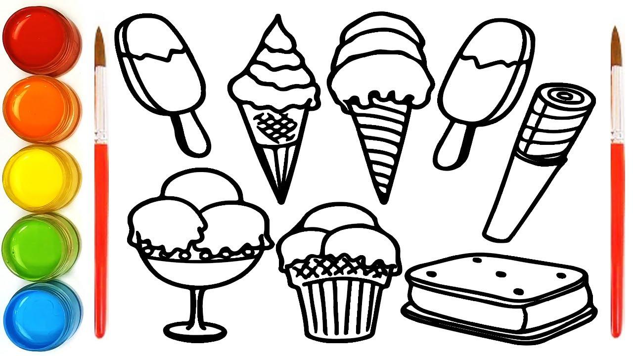 mewarnai gambar es krim untuk anak tk latihan mewarnai