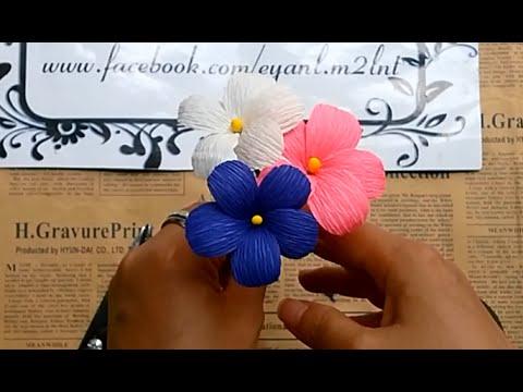 Hoa 5 cánh phồng từ giấy nhún