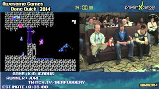 Kid Icarus NES :: SPEED RUN (0:30:49) Live by Jorf #AGDQ 2014