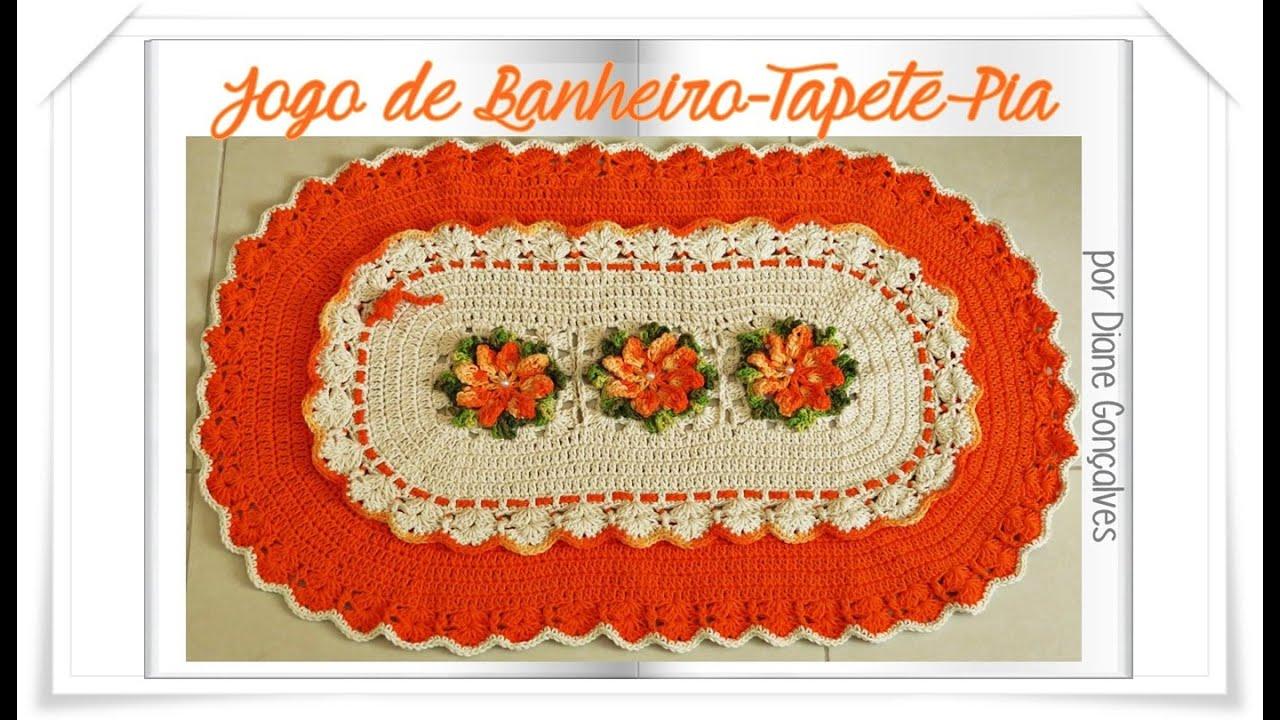 #C12E0A Jogo de Banheiro em Crochê  Tapete Pia   1402x810 px tapete para banheiro em l