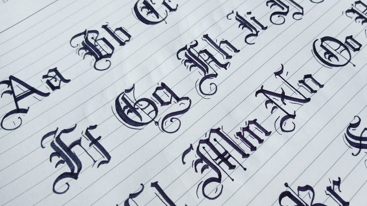 How to Gothic Calligraphy Capital and Small Letters From A to Z ...