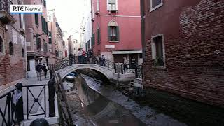 Exceptional low tide sees Venice's canals run dry