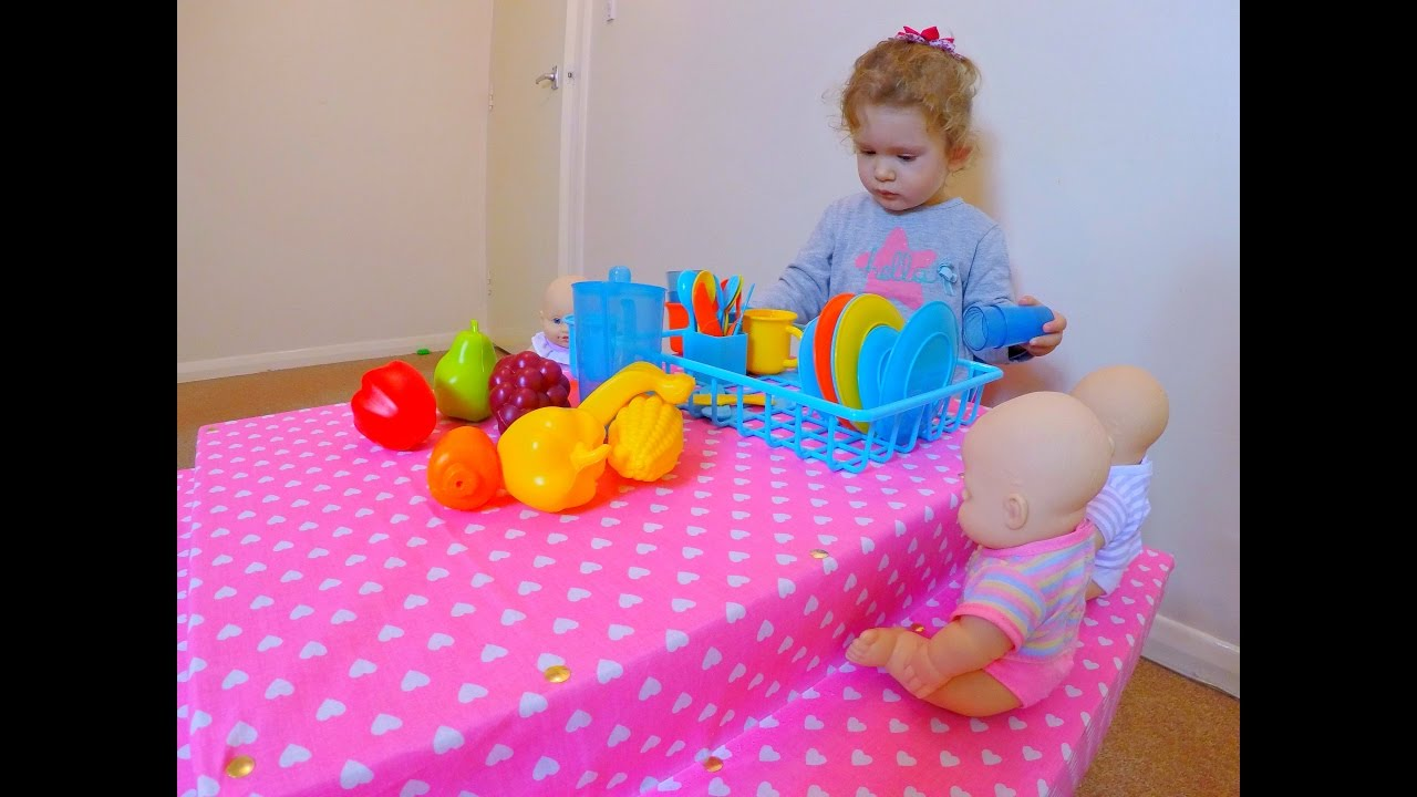 Toy Kitchen Pots Learn Colors With Vegetables And Fruits Kitchen