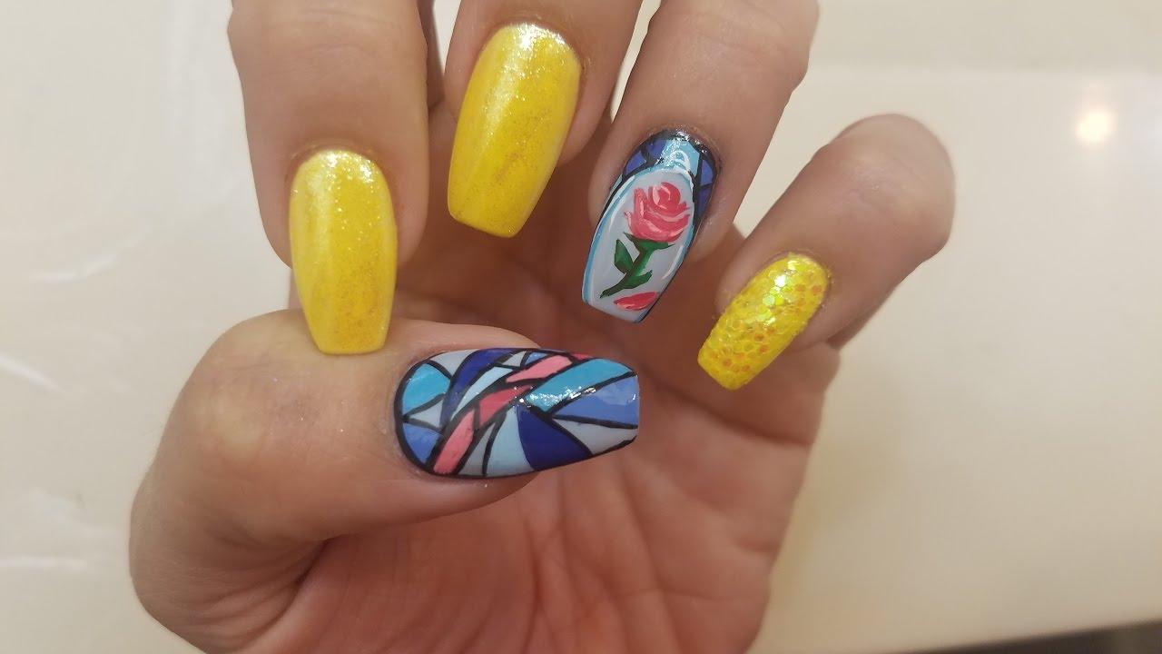 Beauty And The Beast Diy Nail Art Youtube