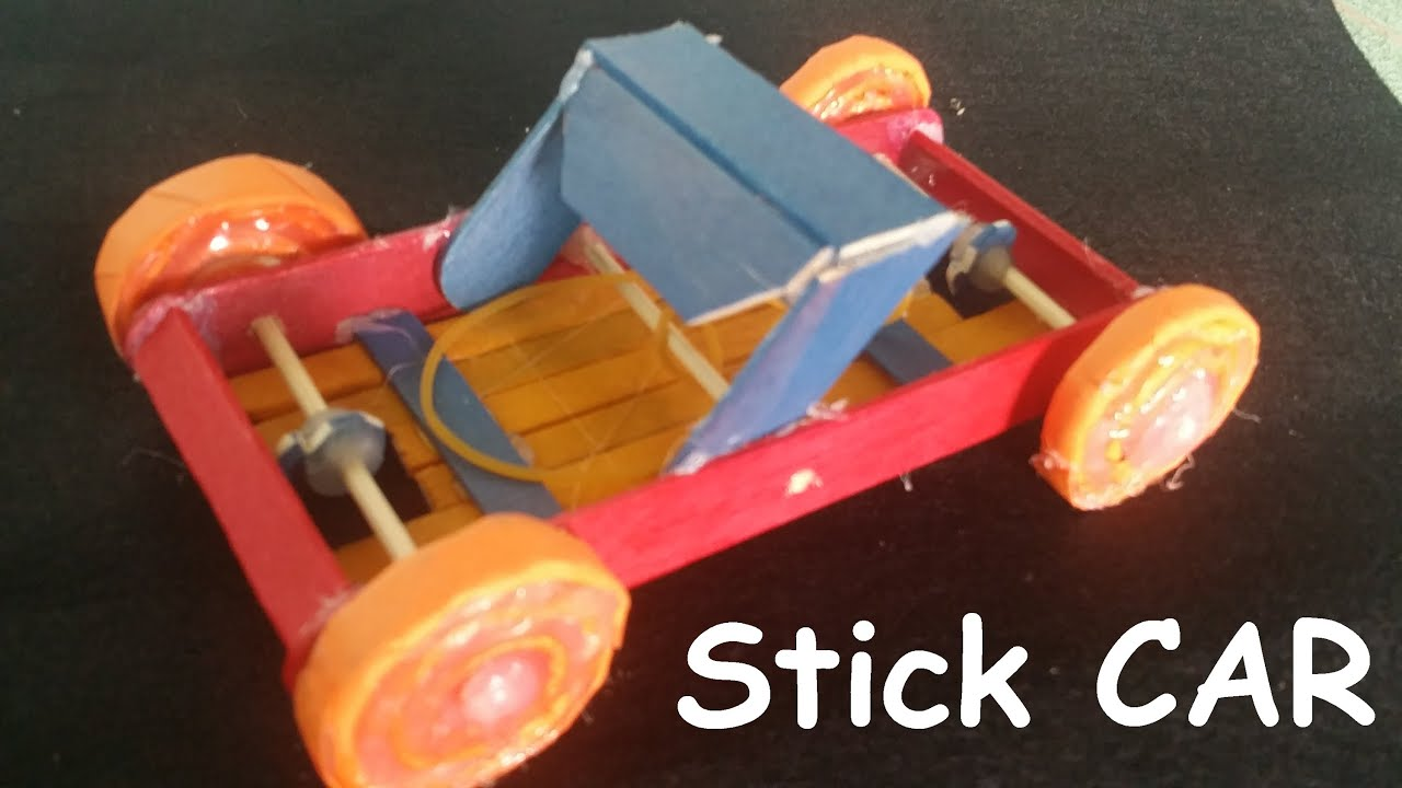 Jumbo wood craft sticks - How To Make A Rubber Band Powered Car Using Wooden Sticks Creative Toy Youtube