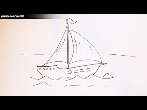 How To Draw A Boat On Water Youtube