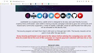 LeadWallet - WORLD'S SIMPLEST CRYPTO WALLET|IEO IN CHAINX EXCHANGE|JOIN BOUNTY 1000000 LEAD TOKENS
