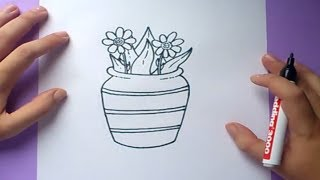 Como dibujar un jarron con flores paso a paso | How to draw one vase with flowers