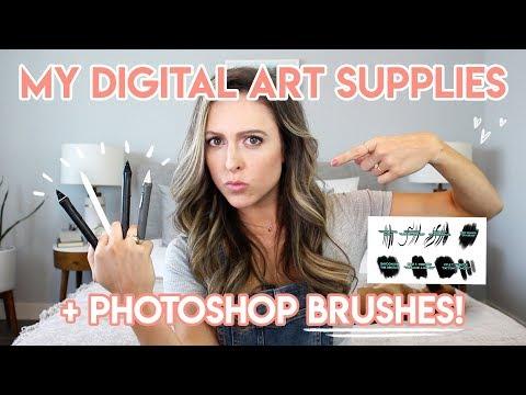 MY DIGITAL ART SUPPLIES + PHOTOSHOP BRUSHES!