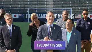 Los Angeles Mayor Eric Garcetti   in 2028, we're bringing the Games back to L A