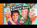 We Open Huge REAL KINDER MAXI Surprise Eggs With HobbyKids mp3
