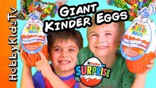 We Open Huge REAL KINDER MAXI Surprise Eggs with HobbyKids