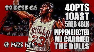 Michael Jordan Highlights 1989 ECSF Game 6 vs Knicks - 40pts,10ast,CARRIED THE BULLS without PIPPEN!