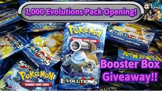 1 000 pack opening of xy evolutions 6 booster box giveaway also free pokemon tcg unboxing
