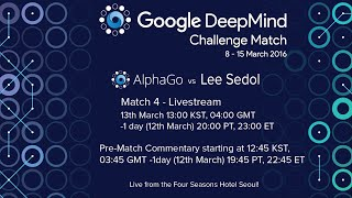 Match 4 - Google DeepMind Challenge Match: Lee Sedol vs AlphaGo(Watch DeepMind's program AlphaGo take on the legendary Lee Sedol (9-dan pro), the top Go player of the past decade, in a $1M 5-game challenge match in ..., 2016-03-13T10:19:55.000Z)